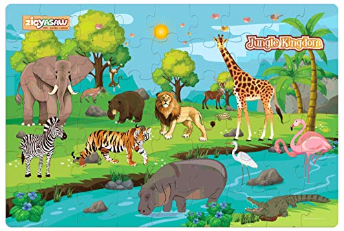 """Zigyasaw Wild animals jungle kingdom giant Jumbo Jigsaw Floor Puzzle (Wipe-Clean Surface, 54 Pieces, 24"""" L x 36"""" W, Great Gift for Girls and Boys – Best for 3,4,5,6, 7, 8 Year Olds and Up)"""