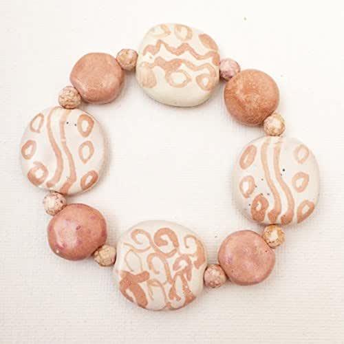 Amazon.com: KAZURI BRACELET - pink and off white: Handmade
