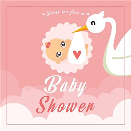 Csfoto 6x6ft Background For Pink Baby Shower Photography Backdrop Gender Reveal Party Fairy Bird Join Us Baby Shower Invitation Cute Baby Pregnant