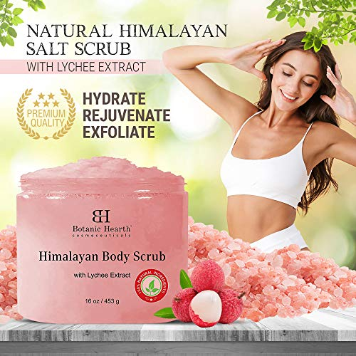 Botanic Hearth Himalayan Salt Body Scrub with Lychee Oil – Natural Exfoliating Body and Face Salt Scrub for Acne…
