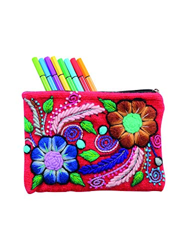Alpaca Flowers - Raymis Handmade Make Up Bag/Pencil Case With Embroidered Alpaca Wool Flowers