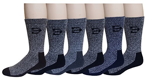 6 Pairs Pack Men's Heavy Weight Outdoor Trail Merino Wool Hiking Boot Socks (10-13, Assorted)