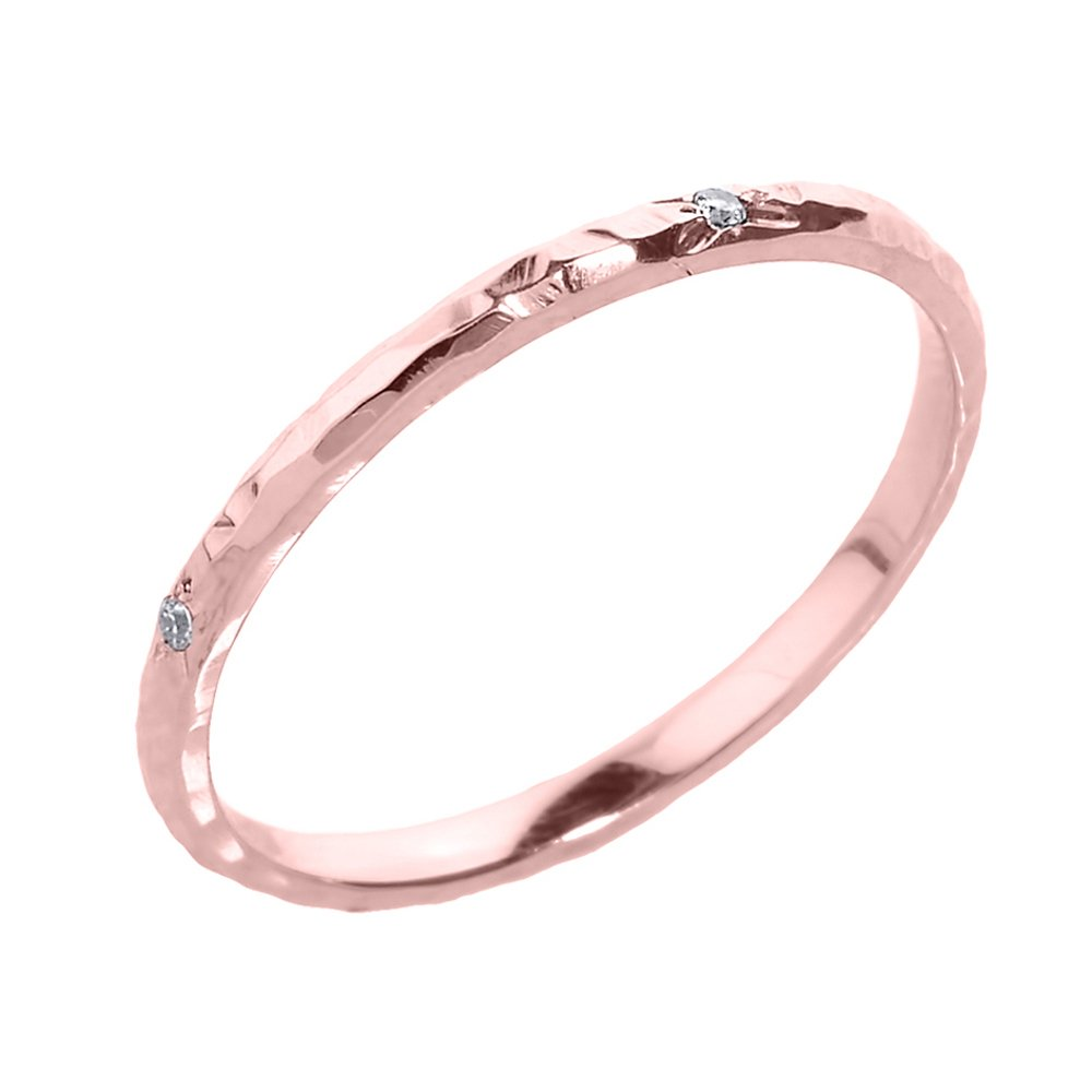 Modern Contemporary Rings Dainty 14k Rose Gold Hammered Band Stackable Diamond Ring (Size 8.5)