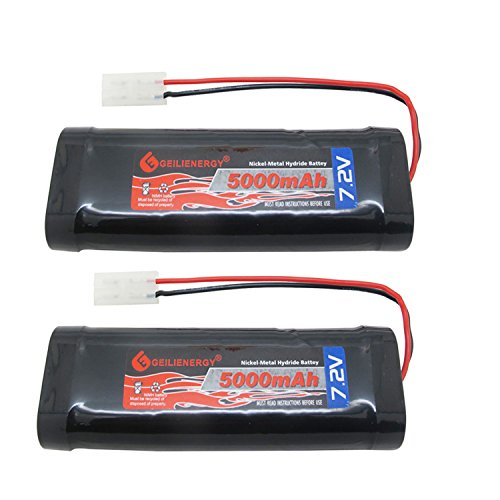 GEILIENERGY 7.2V 5000mAh High Power Rechargeable NiMH Battery Pack Low-self Discharge for RC Cars,Electric Rc Monster Trucks,Traxxas with Tamiya Connector(2 Pack)
