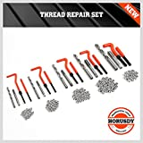 HORUSDY 131Pc Thread Repair Kit, HSS Drill Helicoil