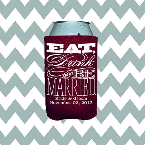 Personalized Wedding Can Insulator Special Eat Drink and Be Married