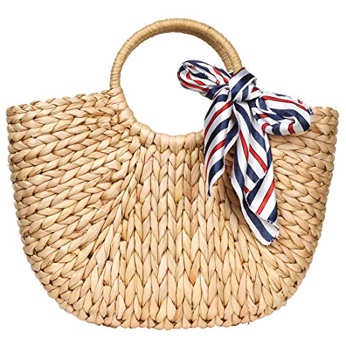 (Hand-woven Straw Large Hobo Bag for Women Round Handle Ring Toto Retro Summer Beach (Brown 2) )