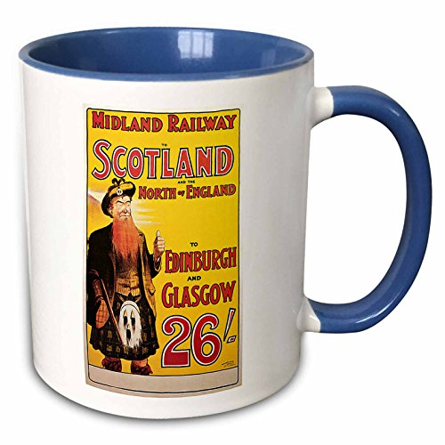 3dRose BLN Vintage Travel Posters - Vintage Midland Railway to Scotland and North England Train Travel Poster - 15oz Two-Tone Blue Mug (mug_126034_11)