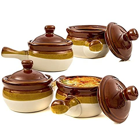 French Onion Soup Bowls, Brown Ceramic Crocks with Lids and Handles, Set of (Brown Ceramic Bowl)
