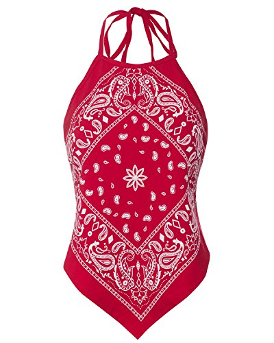 Instar Mode Women's Sexy Paisley Bandana Halter Top Shirt- Made in USA Red M