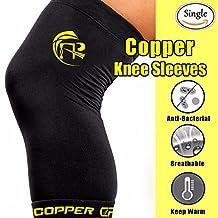 CFR Copper Knee Sleeve Sport Knee Support Compression Brace Highest Copper Content Unisex Fit for Men & Women - Single
