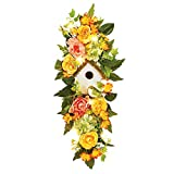 Collections Etc Lighted Peach and Yellow Rose Birdhouse Swag - Seasonal Window or Door Accent for Any Room in Home