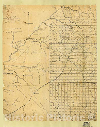 Historic 1864 Map | Map of Part of Fulton, Fayette, and Campbell Counties, from surveys, State map, and Information 44in x 56in
