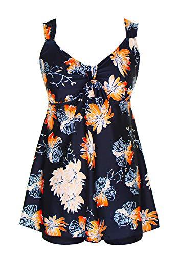 DANIFY Women's Plus Size Swimwear Two Piece Swimsuit Pin up Tummy Control Tankini Swimdress (Two Piece Dress)