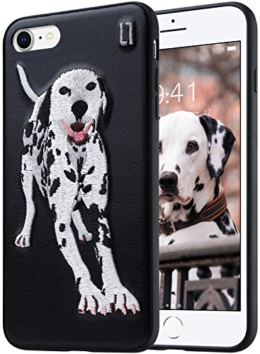 Dalmatian Embroidery (ULAK 3D Embroidered Case Compatible with The iPhone 7 (2016) iPhone 8 (2017) 4.7-Inch - Slim Fit, TPU Bumper with 3D Embroidery on a PU Leather Protective Cover [Dalmatian])