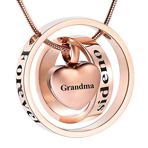 (memorial jewelry Rose Gold Cremation Jewelry My Mom My Dad My Son My Sister My Friend Urn Necklace Circle Life Keepsake Pendant for Ash (Grandma))