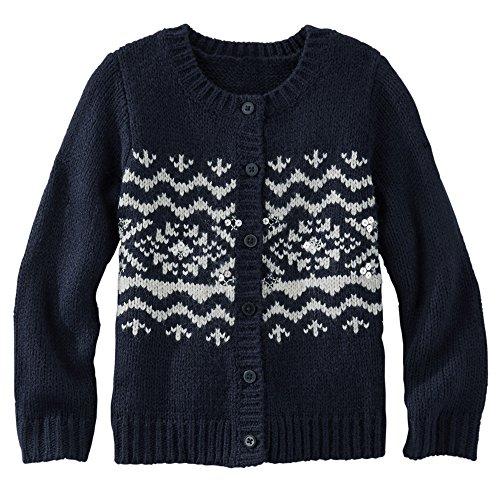 Oshkosh Girls Fair Isle Cardigan Sweater; Navy (9 Months)