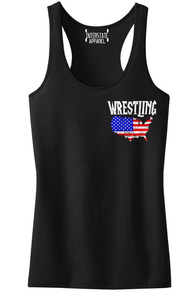 Interstate Apparel Inc Junior's Wrestling American Flag Map Black Racerback Tank Top T-Shirt X-Large Black