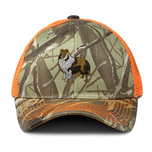 (Camo Mesh Trucker Hat Shetland Sheepdog Embroidery Cotton Neon Hunting Baseball Cap Strap Closure One Size Orange Camo Design Only)