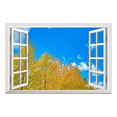 Yellow Pine Tree Clear Sky Open Window Mural Wall Sticker, Crafted to Perfection, Incredible Expert Craftsmanship