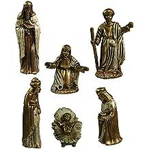 6 Piece Miniature Gold Nativity Figures [1MTX4976]