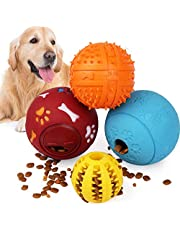 PrimePets 4 Pack IQ Treat Ball, Fun Interactive Food Dispensing Dog Toys, Non-Toxic Natural Rubber Dog Puzzle Chew Toys, for Tooth Cleaning, Chewing, Playing