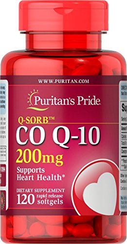 Puritan's Pride Q-SORB CoQ10 200 mg, Dietary Supplement, Promotes Energy Production in Heart, Brain, and Muscles, 120 Rapid Release Softgels