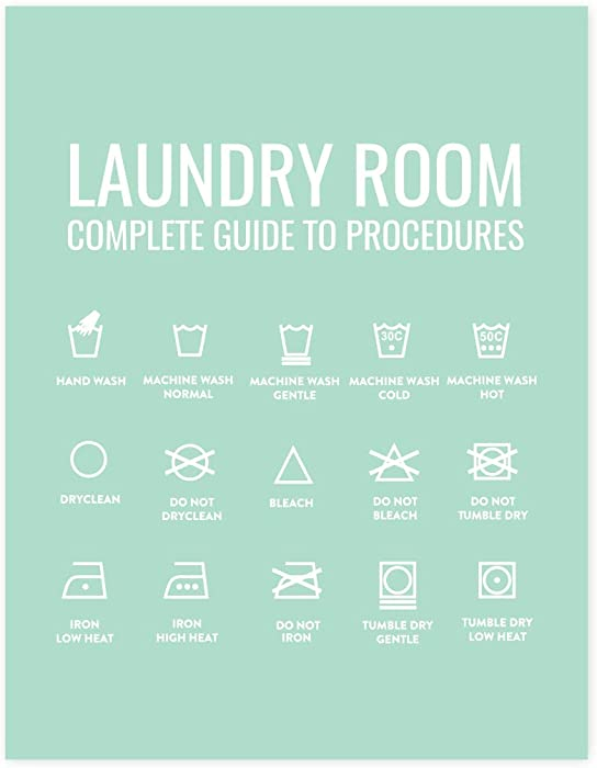 Andaz Press Laundry Room Wall Art Decor Signs, 8.5 x 11-inch Poster, Mint Green Print, Laundry Room Guide to Procedures, 1-Pack