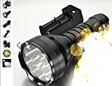 Trustfire 15000lm 12 X Cree Xm-l T6 Super Bright LED Tactical Flashlight Hungting/sports Light Black+6pcs Battery 18650+ Free Charger