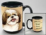 Gold and White Shih Tzu Dog Breed Traits Ceramic Stoneware 15 Ounce Mug