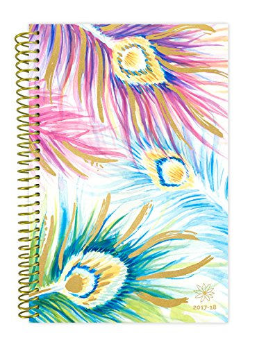 "bloom daily planners 2017-18 Academic Year Daily Planner - Passion/Goal Organizer - Monthly and Weekly Datebook and Calendar - August 2017 - July 2018 - 6"" x 8.25"" - Peacock Feathers"