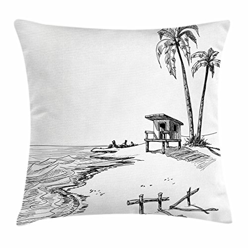 Sketchy Throw Pillow Cushion Cover by Lunarable, Sketch Figure of Summer Beach with Palm Trees and Lifeguard Stand Seascape Concept, Decorative Square Accent Pillow Case, 36 X 36 Inches, Black - Lifeguard City Party