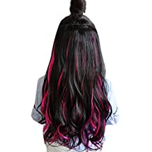 BarRan 3/4 Full Head Clip in Synthetic Hair Extension Natural Wavy Curly One Piece 5 Clips Hairpieces (Black and Hot Pink)