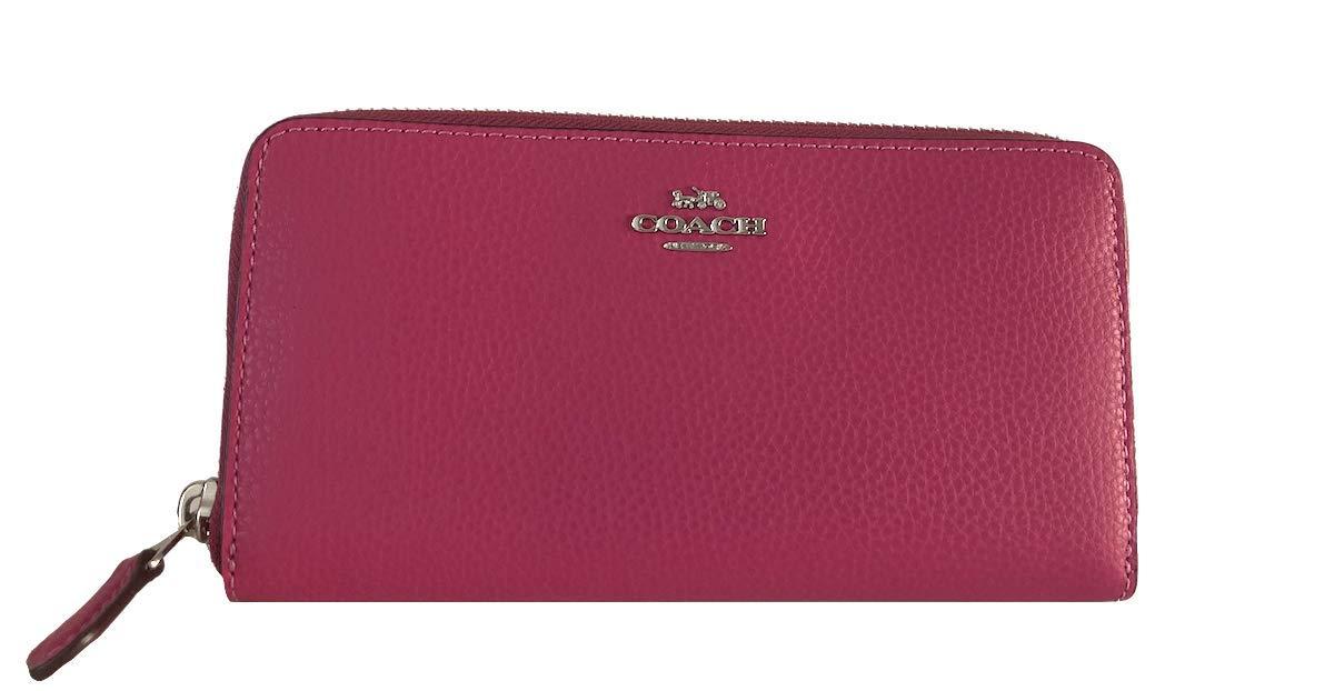 Coach Pebble Leather Accordion Zip Wallet (Cerise)