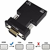Jahyshow Active 1080P Female HDMI to VGA Male Converter Adapter Dongle with 3.5mm Stereo Audio portable HDMI Connector for Laptop PC PS3 Xbox STB Blu-ray DVD TV Stick