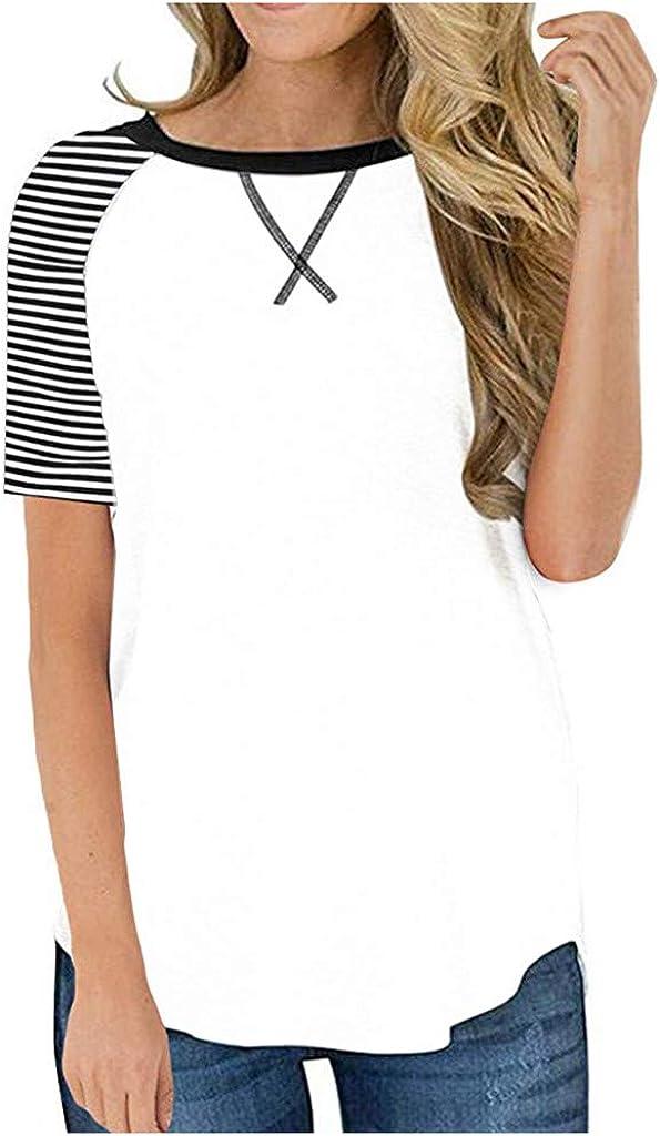 Teresamoon Womens Lightweight Striped Sleeve Loose Fit Pullover Sweatshirts Tunics Tops Shirts