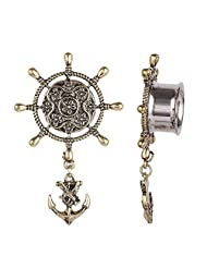 Swanjo Antiqued Brass Compass Dangle Anchor Single Flared Hollow Ear Tunnel Plugs 0G-5/8""