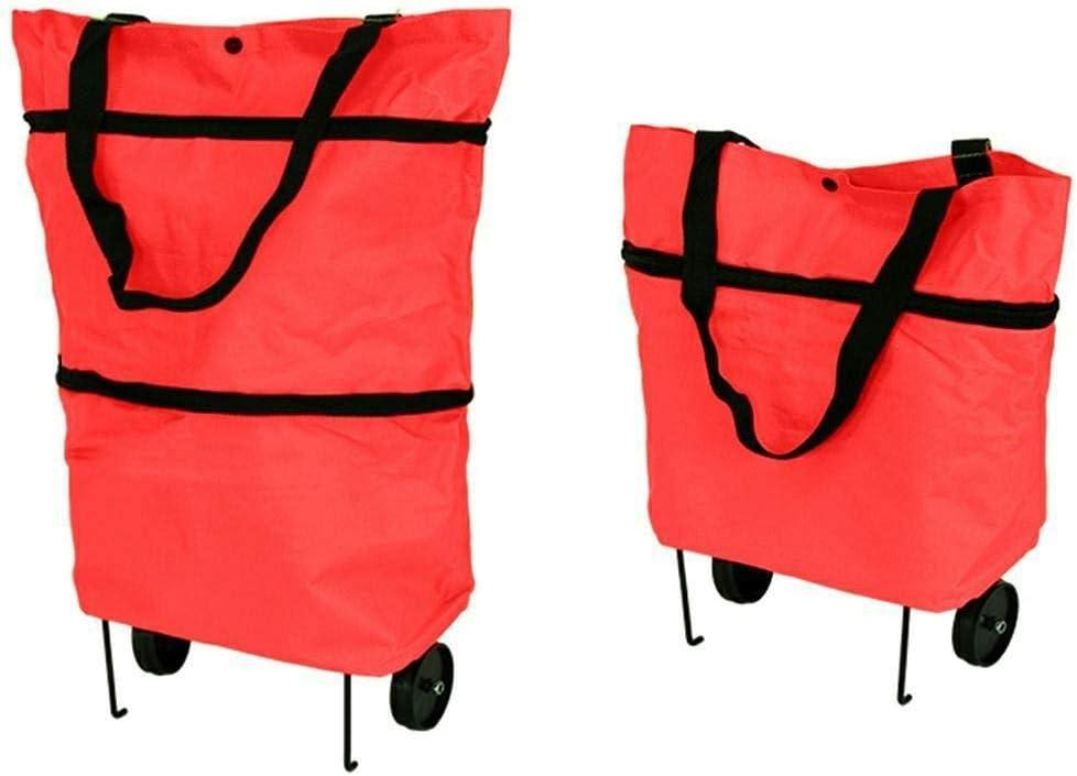 pliable et imperm/éable Chariot de courses haut de gamme avec roues et supports Rouge