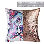 """EVERMARKET Mermaid Throw Pillow Cover,Magic Reversible Sequin Pillow Case, Cute Pet Pattern Throw Cushion Pillow Case Decorative Pillow That Change Color 16""""X16""""inch,Border Collie Dog 8"""