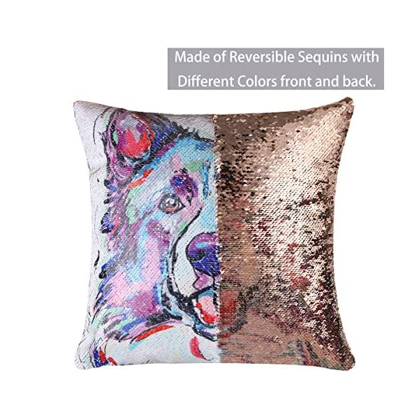 """EVERMARKET Mermaid Throw Pillow Cover,Magic Reversible Sequin Pillow Case, Cute Pet Pattern Throw Cushion Pillow Case Decorative Pillow That Change Color 16""""X16""""inch,Border Collie Dog 3"""