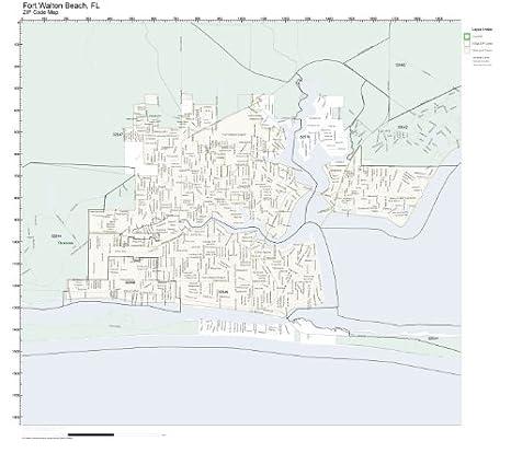 Amazon Com Zip Code Wall Map Of Fort Walton Beach Fl Zip Code Map