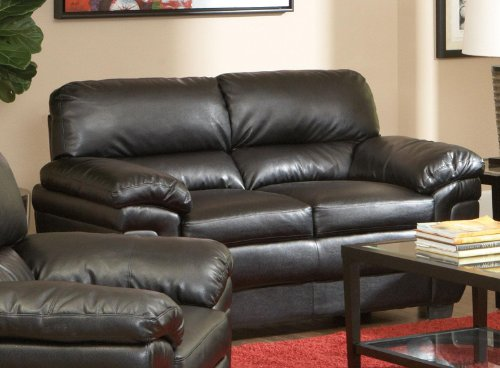 Loveseat with Split Back in Black Leather-Like Fabric