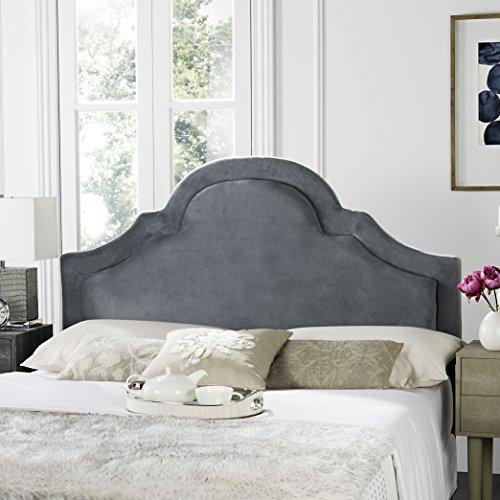 Tufted Border Velvet - Safavieh Kerstin Wedgwood Blue Upholstered Arched Headboard (Queen)