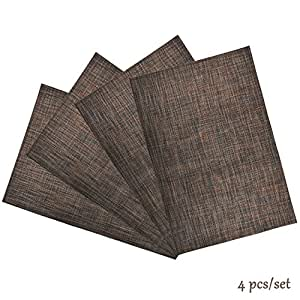 Rittiwood Crossweave Woven Vinyl Placemats set of 4 Heat Resistant Non-slip Washable Kitchen Table Mats For Party Family Dinner Home Kitchen Use (Brown)