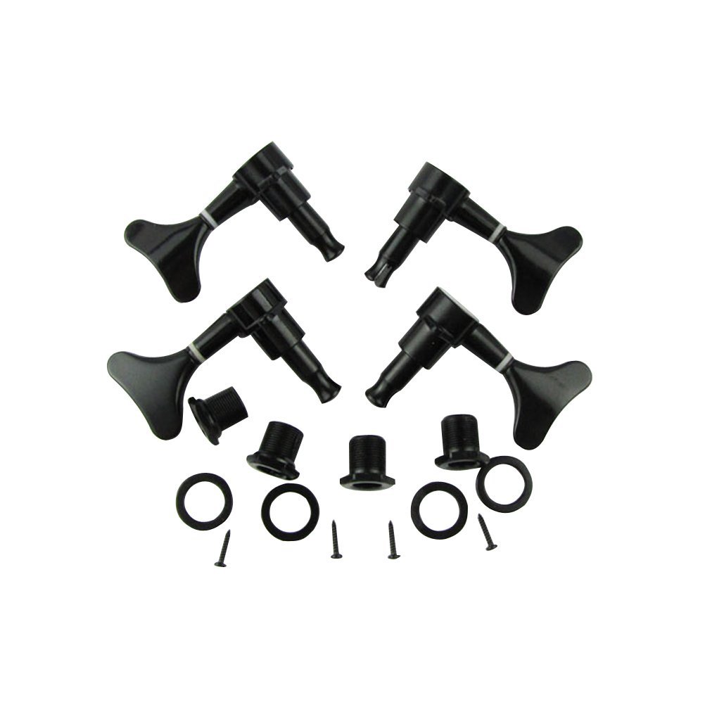 Musiclily 2+2 Sealed Bass Guitar Tuning Pegs Keys 2R2L Machine Head Tuners for Precision Bass and Jazz Bass, Black