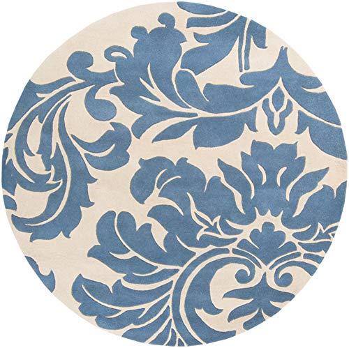 Surya Athena ATH-5076 Classic Hand Tufted 100% Wool Slate Blue 8' Round Paisleys and Damasks Area Rug