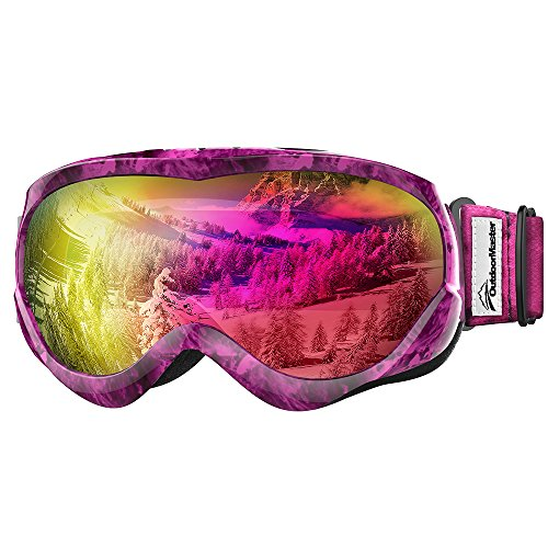 OutdoorMaster Kids Ski Goggles - Helmet Compatible Snow Goggles for Boys & Girls with 100% UV Protection (Purple Pattern Frame + VLT 45% Violet - Violet Frame