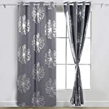 Deconovo Foil Print Floral Panels Thermal Insulated Blackout Curtain Window Blackout Drapes For Bedroom Light Grey 52W by 84L Inch One Pair