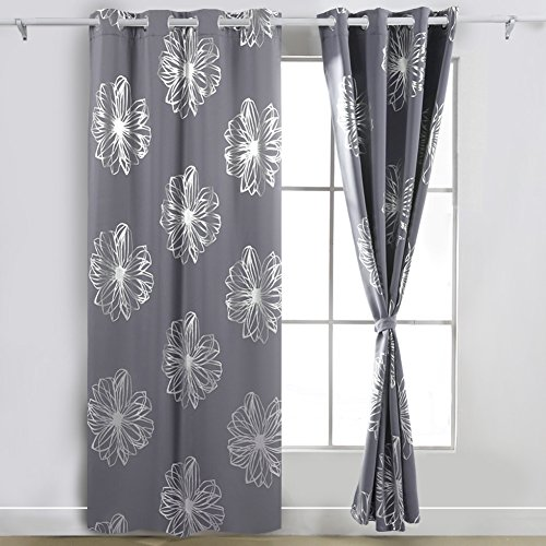 Deconovo Light Gray Flower Foil Printed Thermal Insulated Bedroom Grommet Blackout Curtains for Bedroom 52
