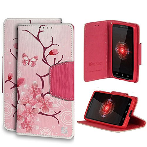 Beyond Cell ®Premium 2-Layer Protection Luxury PU Leather Folio Flip Cover Wallet Phone Case With Stand For Motorola Droid Mini XT1030 (Verizon,International)- Cherry Blossom Design - Retail Packaging